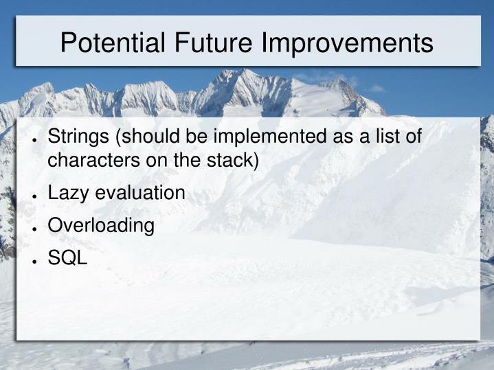 Potential Future Improvements