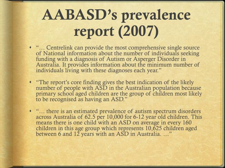 AABASD's prevalence report (2007)