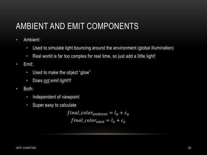 Ambient and Emit Components