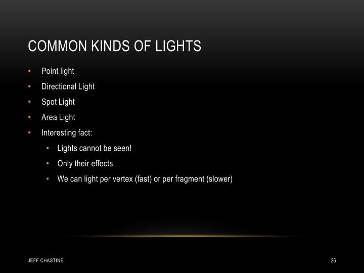 Common Kinds of Lights