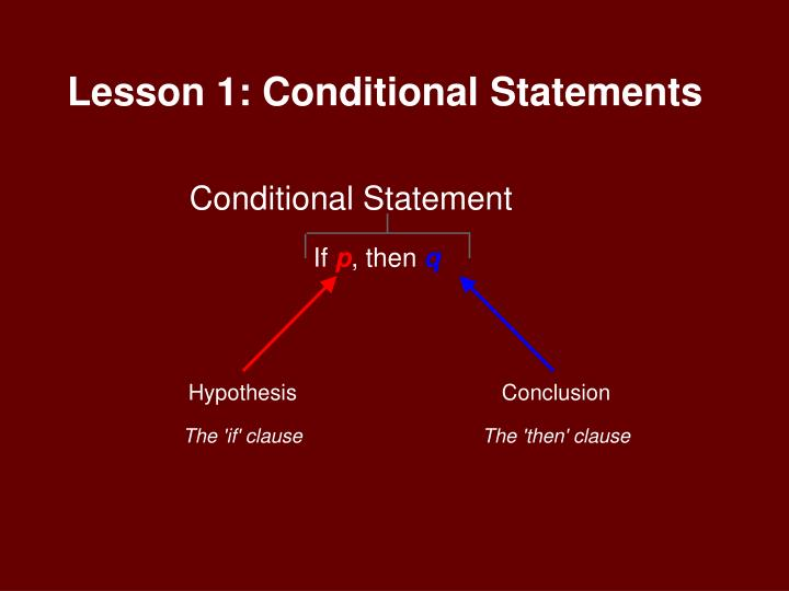 Lesson 1 conditional statements