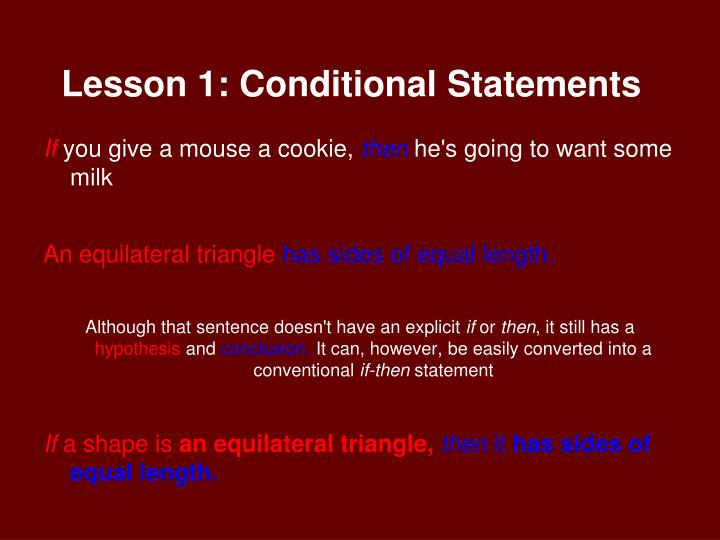 Lesson 1 conditional statements1