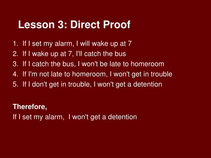 Lesson 3: Direct Proof