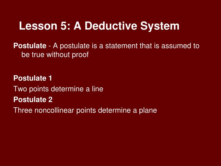 Lesson 5: A Deductive System