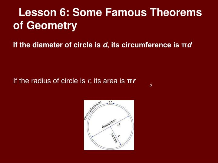 Lesson 6: Some Famous Theorems of Geometry