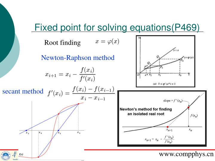 Fixed point for solving equations(P469)