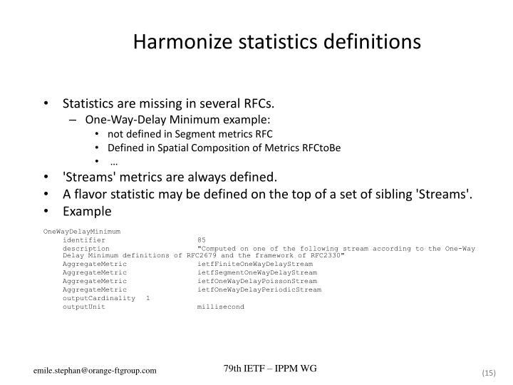 Harmonize statistics definitions