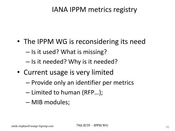 IANA IPPM metrics registry