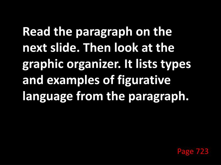 Read the paragraph on the next slide. Then look at the graphic organizer. It lists types and examples of figurative language from the paragraph.