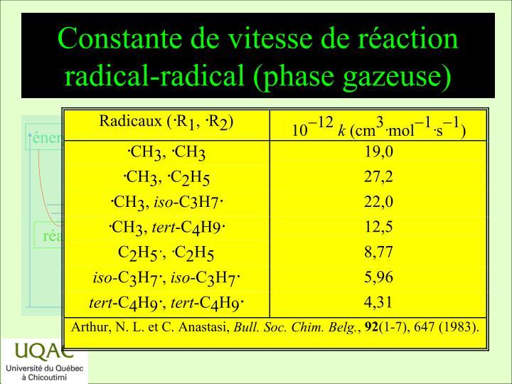 Constante de vitesse de réaction radical-radical (phase gazeuse)