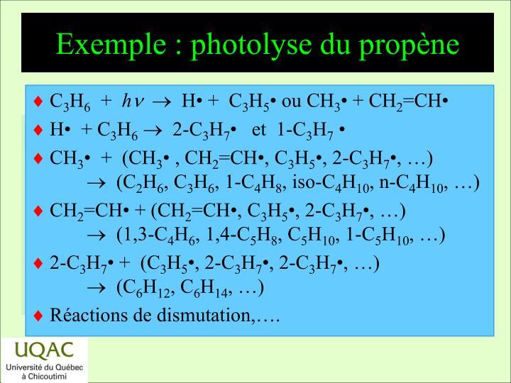 Exemple : photolyse du propène