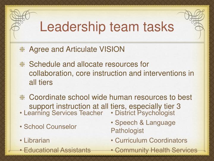 Leadership team tasks