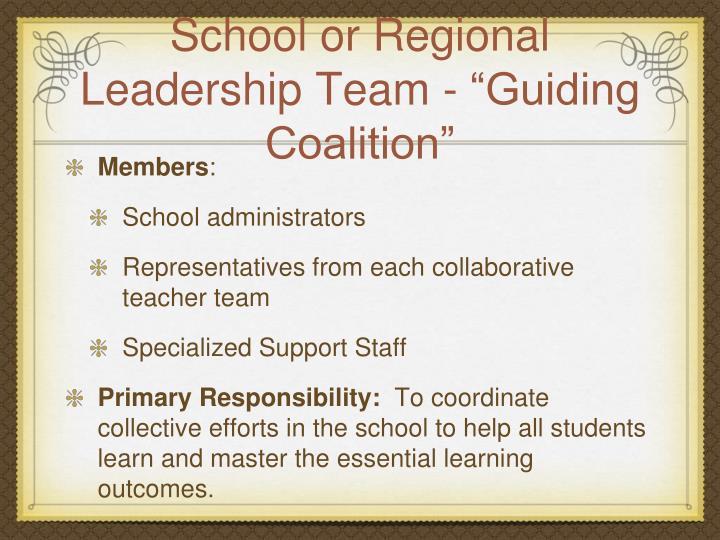 "School or Regional Leadership Team - ""Guiding Coalition"""