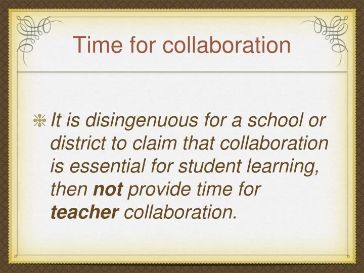 Time for collaboration
