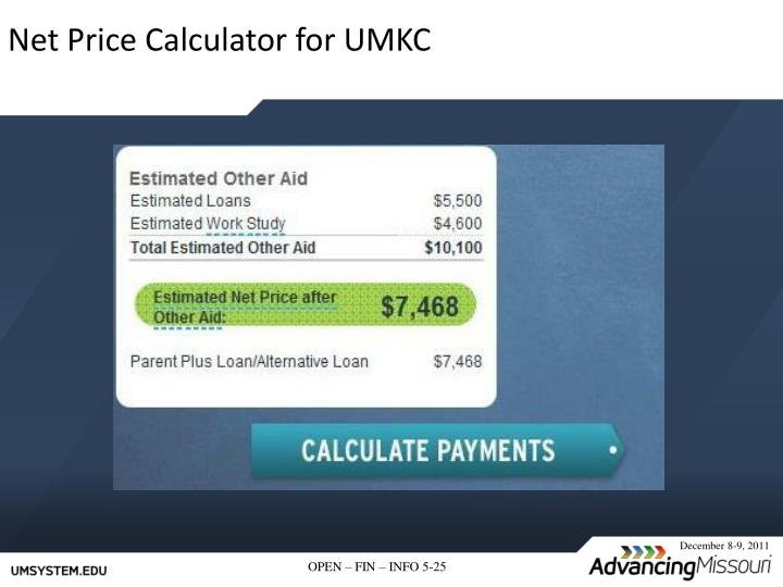 Net Price Calculator for UMKC