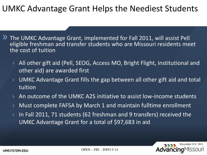 UMKC Advantage Grant Helps the Neediest Students