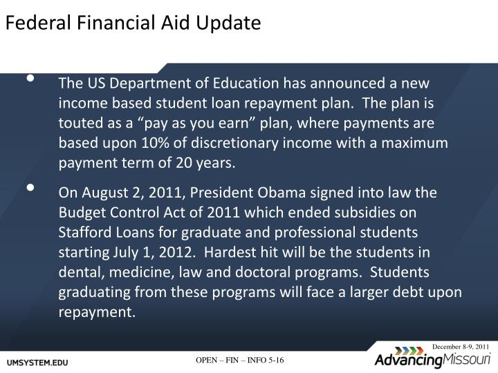Federal Financial Aid Update
