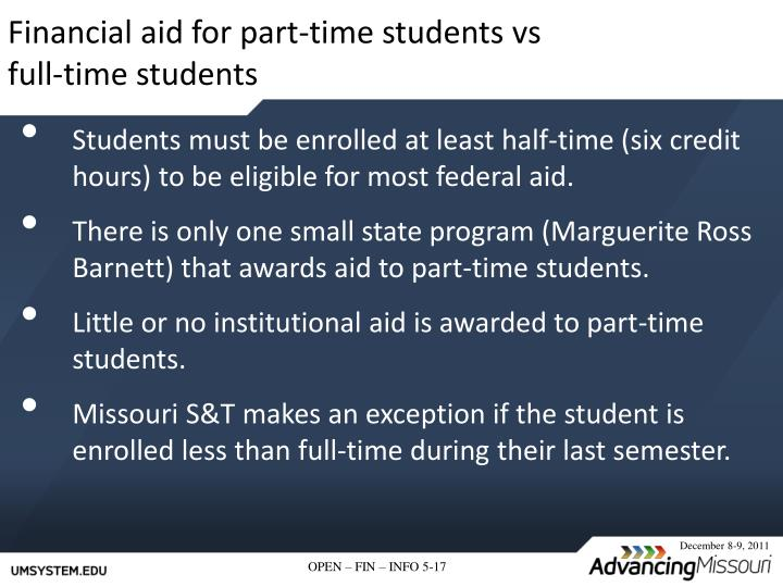 Financial aid for part-time students vs