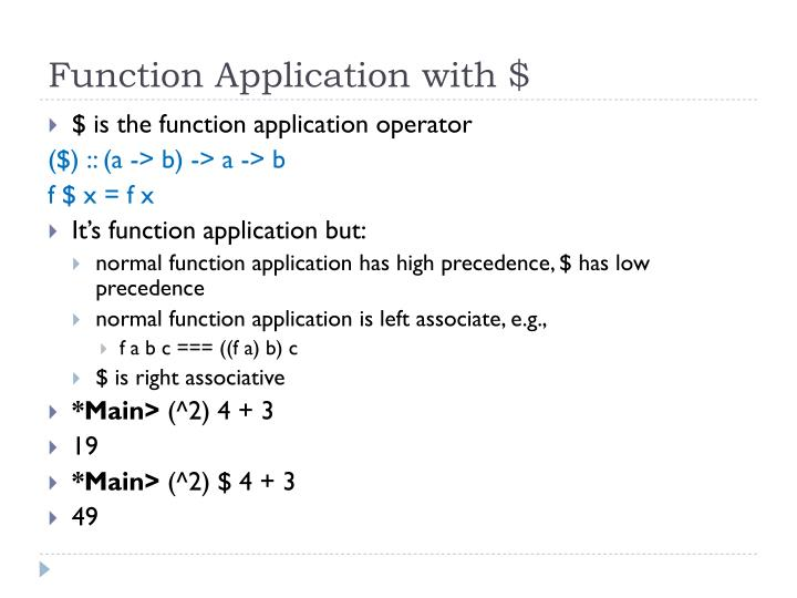 Function Application with $