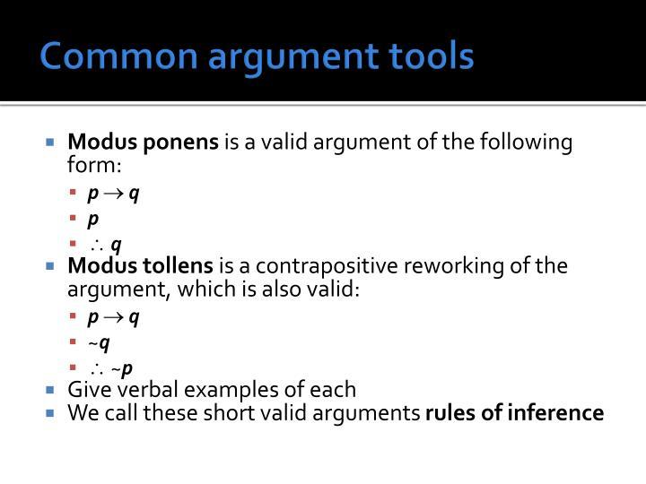 Common argument tools