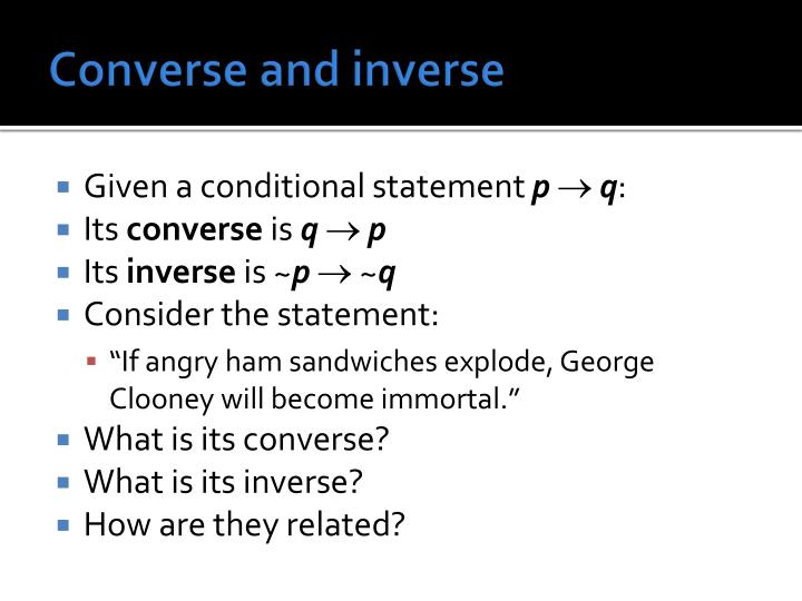 Converse and inverse