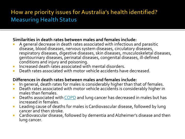 How are priority issues for Australia's health identified?