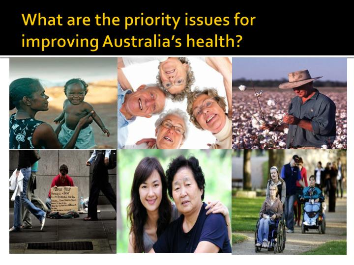 What are the priority issues for improving Australia's health?