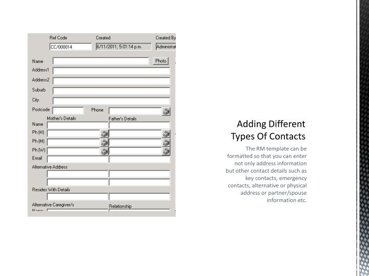 Adding Different Types Of Contacts