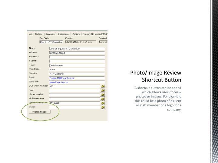 Photo/Image Review Shortcut Button