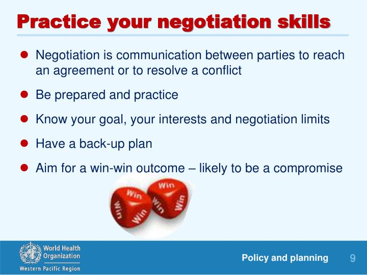 Practice your negotiation skills
