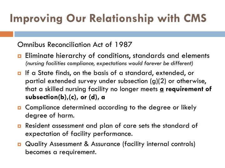 Improving Our Relationship with CMS