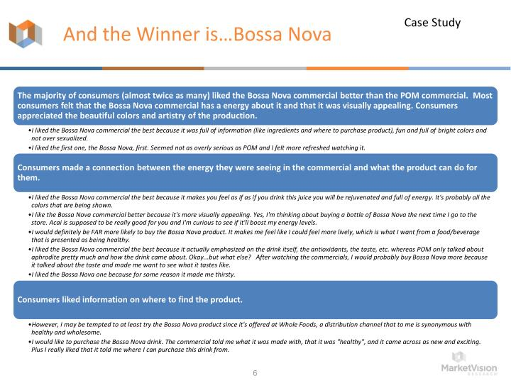 And the Winner is…Bossa Nova