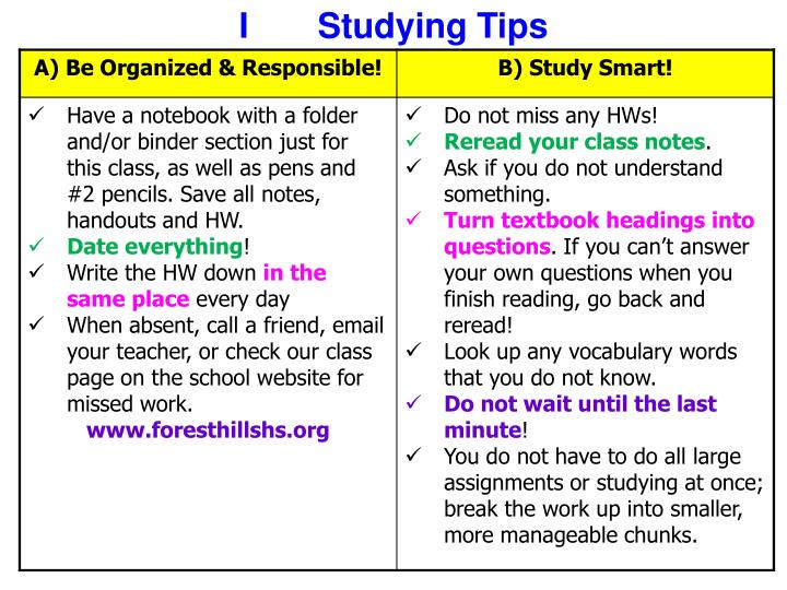 I Studying Tips
