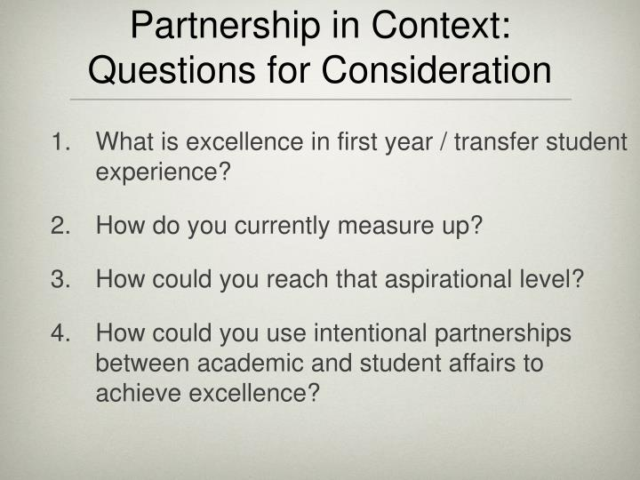 Partnership in context questions for consideration