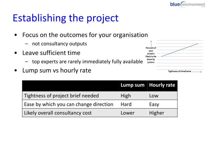 Establishing the project