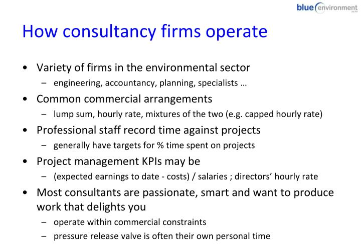 How consultancy firms operate