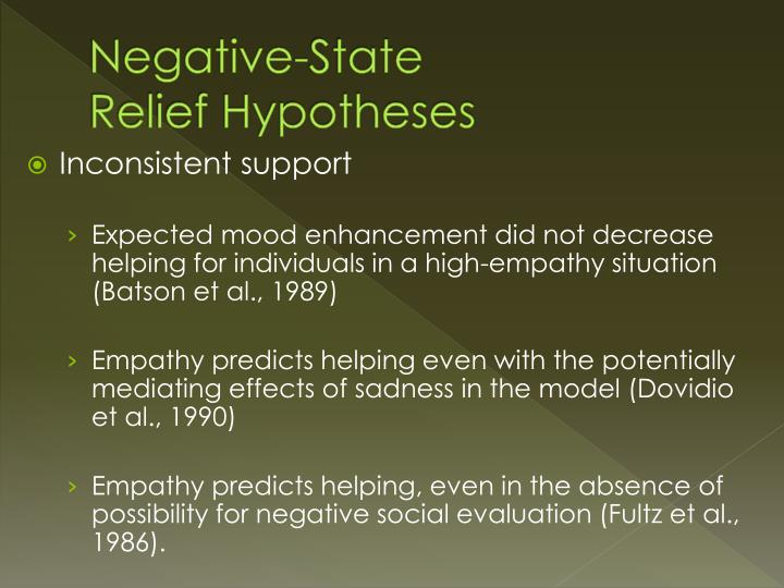 Negative state relief hypotheses