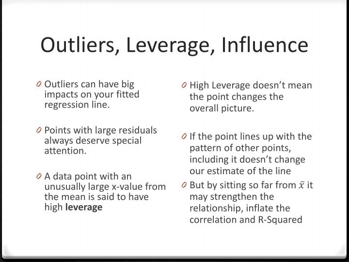 Outliers, Leverage, Influence