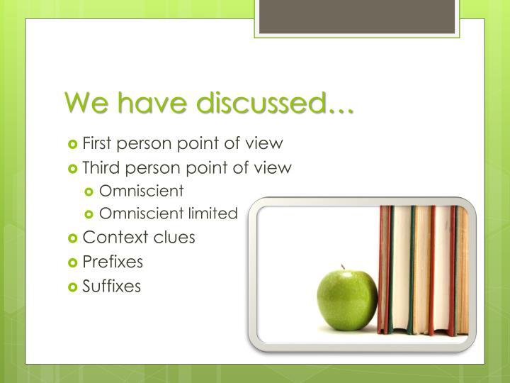 We have discussed…