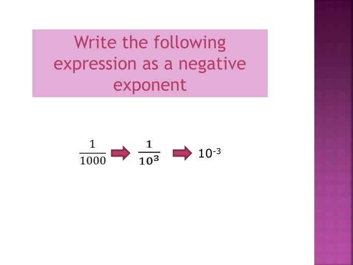 Write the following expression as a negative exponent