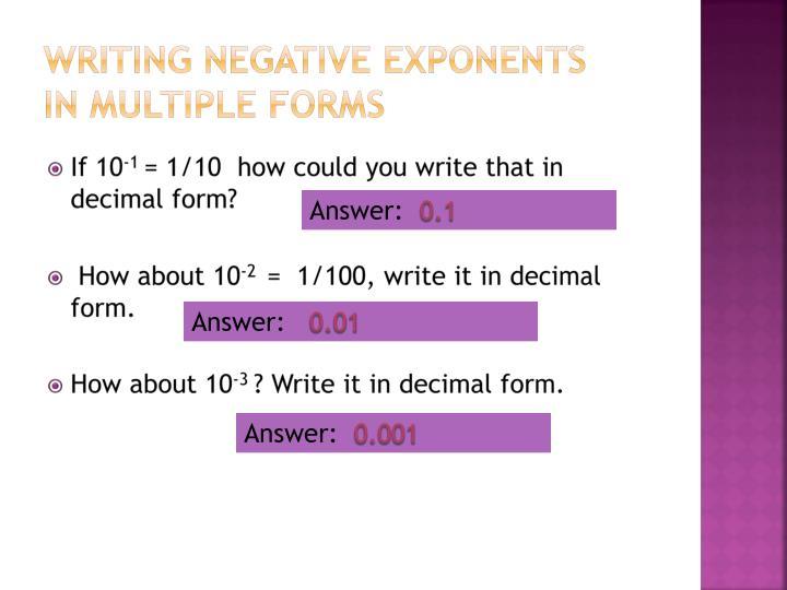 Writing negative exponents