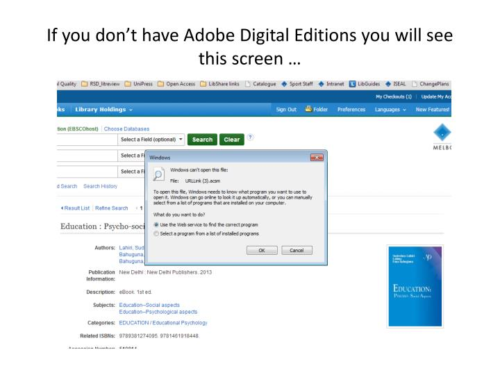 If you don't have Adobe Digital Editions you will see this screen …