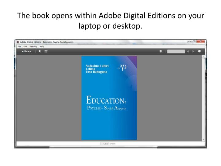 The book opens within Adobe Digital Editions on your laptop or desktop.