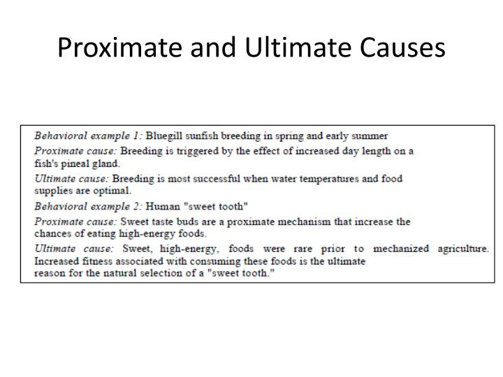 Proximate and Ultimate Causes