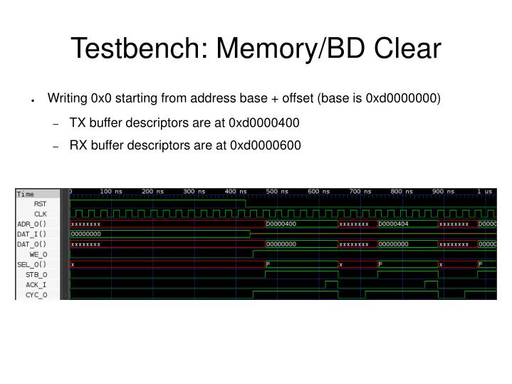 Testbench: Memory/BD Clear