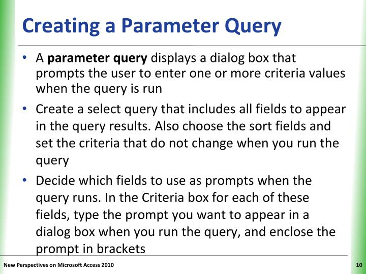 Creating a Parameter Query