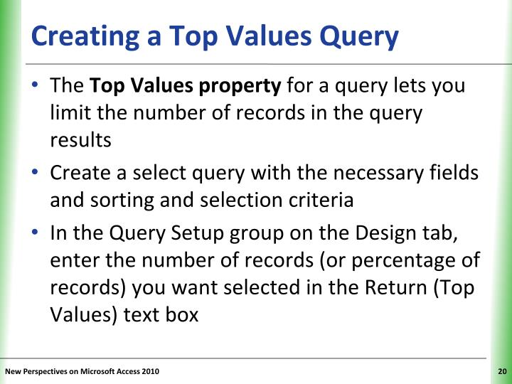 Creating a Top Values Query