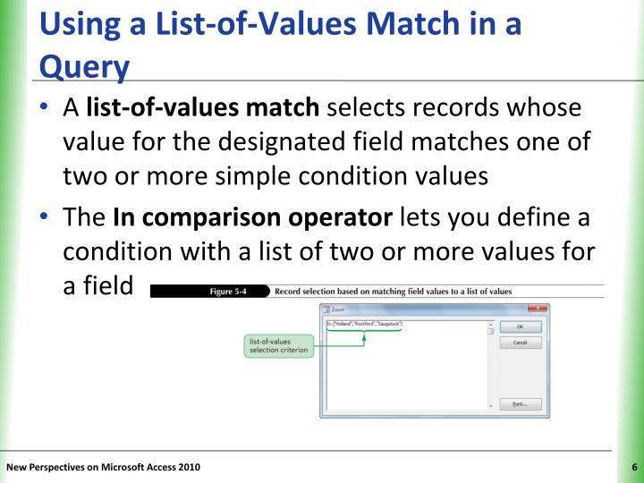 Using a List-of-Values Match in a Query