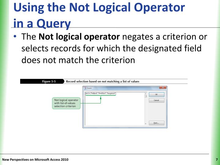 Using the Not Logical Operator