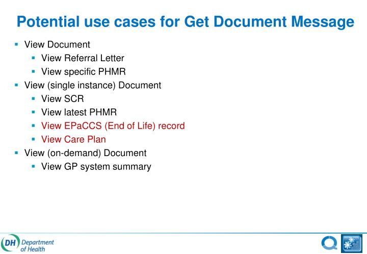 Potential use cases for Get Document Message